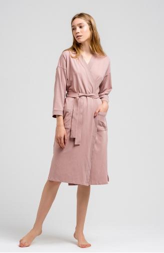 >Халат попелясто-рожевий з фактурними вставками