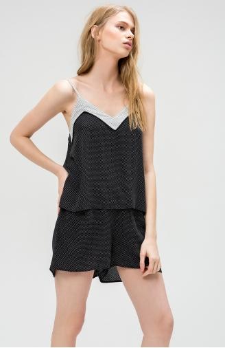 >Піжама чорно-біла в дрібний горошок