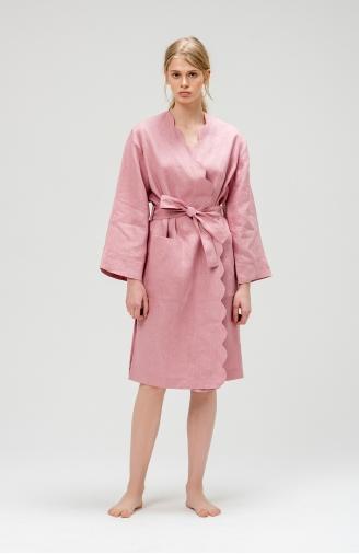 Халат рожевий з льону з фігурним краєм