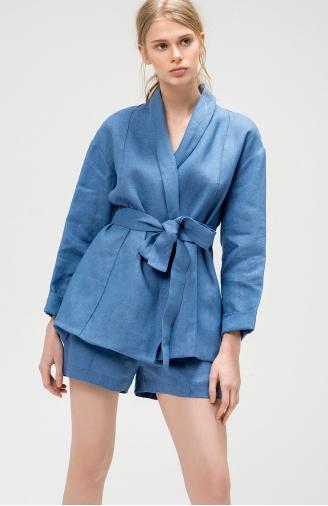 >Набір синій з льону з шортами