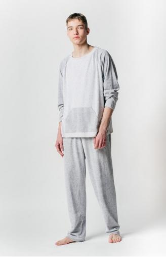 >Чоловіча велюрова піжама сіра з кишенею