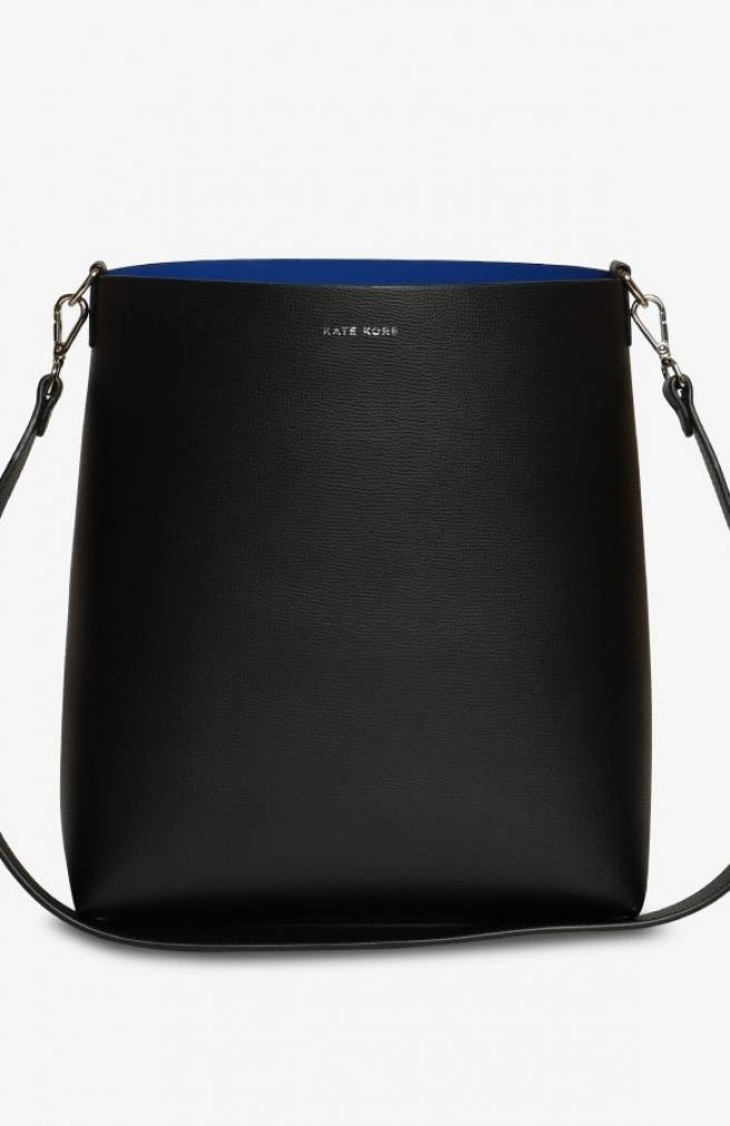 >Saffiano Vertical Tote Black / Blue
