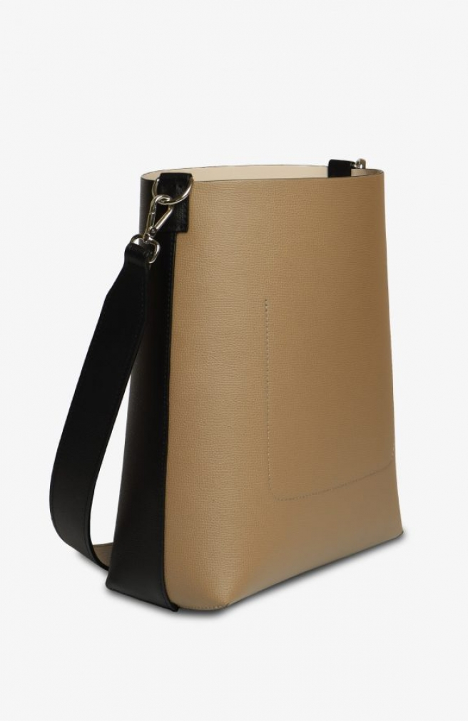 >Vertical Double Tote Black / Sand