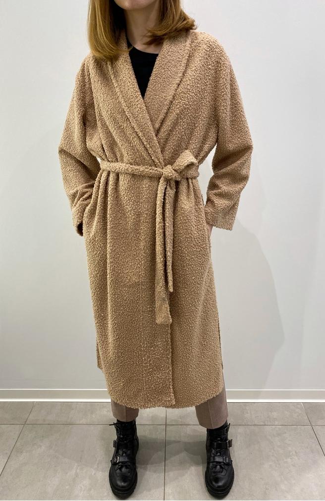 >Пальто-халат барашка з поясом