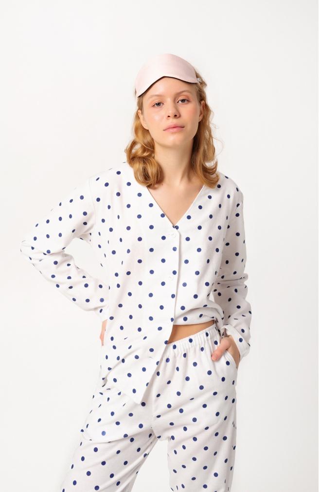 >Сорочка біла в синій горошок з фланелі