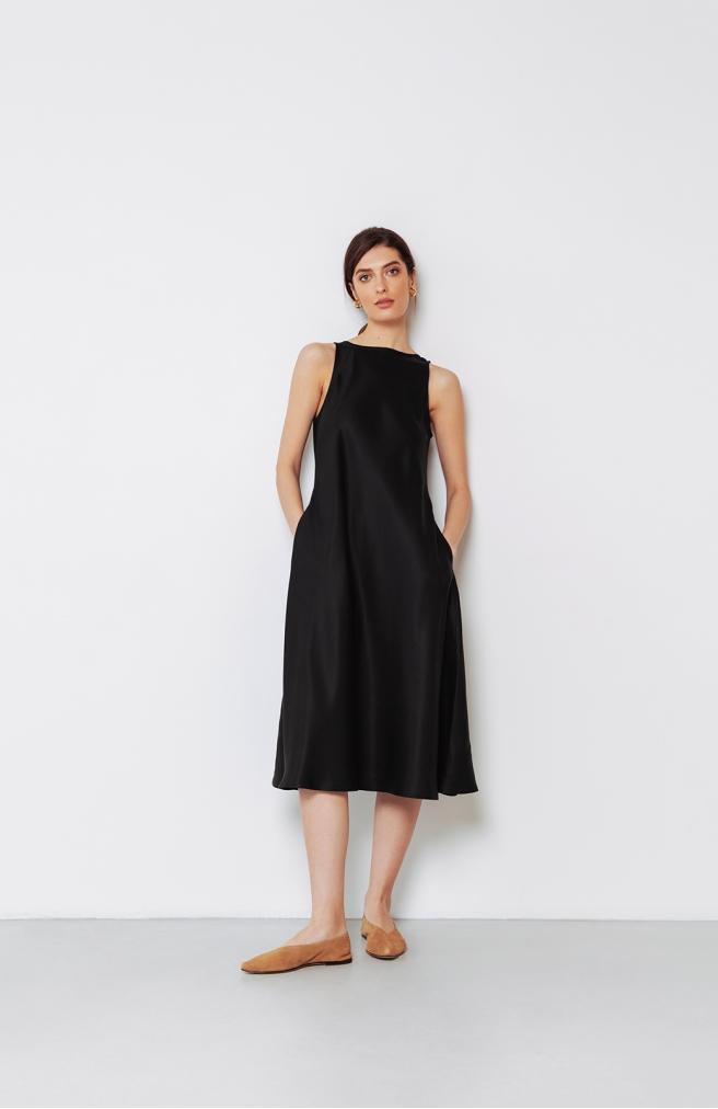 >Сукня-майка чорна з тенселу