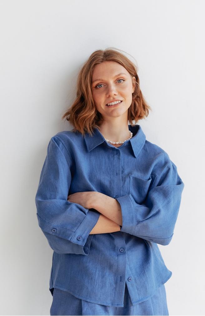 >Сорочка синя з льону з широким рукавом