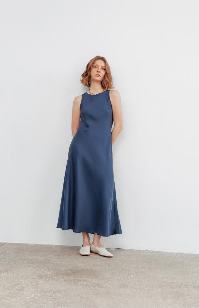 >Сукня-майка синя з тенселу