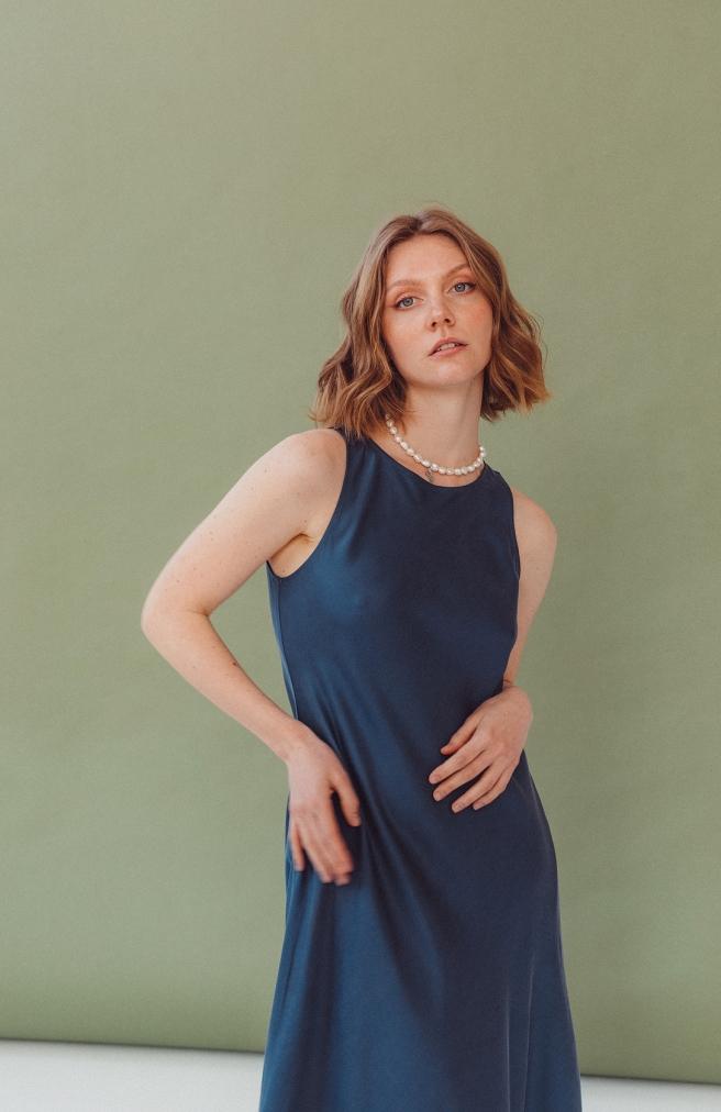 Сукня-майка синя з тенселу