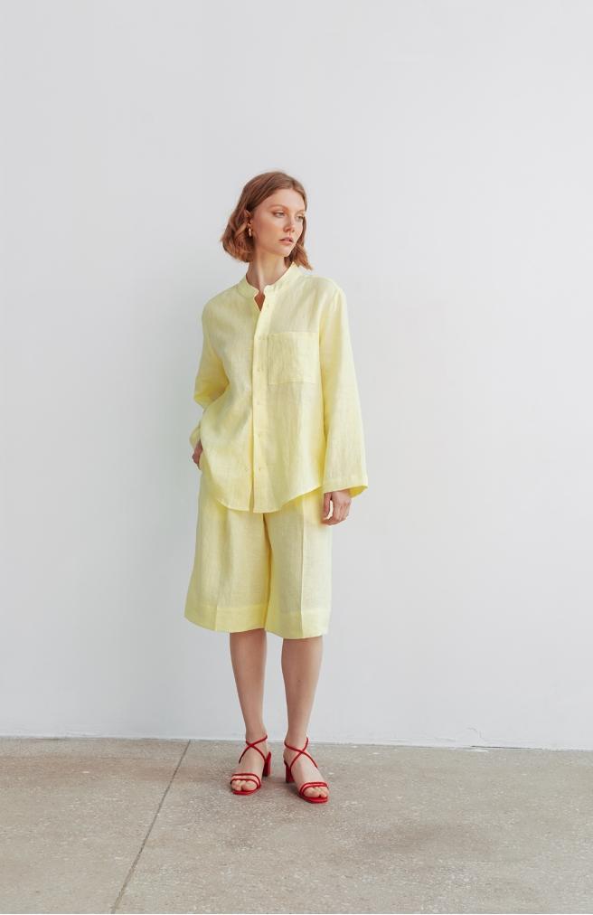>Бермуди лляні жовтого кольору