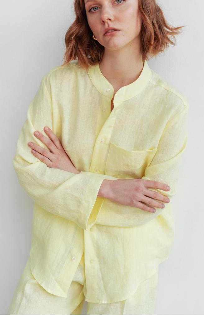 >Сорочка жовта унісекс з комірцем на ґудзиках