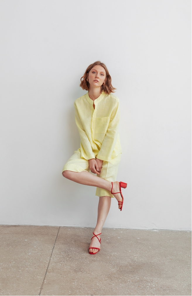 Сорочка жовта унісекс з комірцем на ґудзиках
