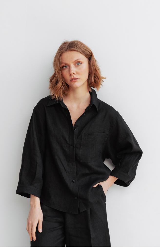 >Сорочка чорна вкорочена з льону