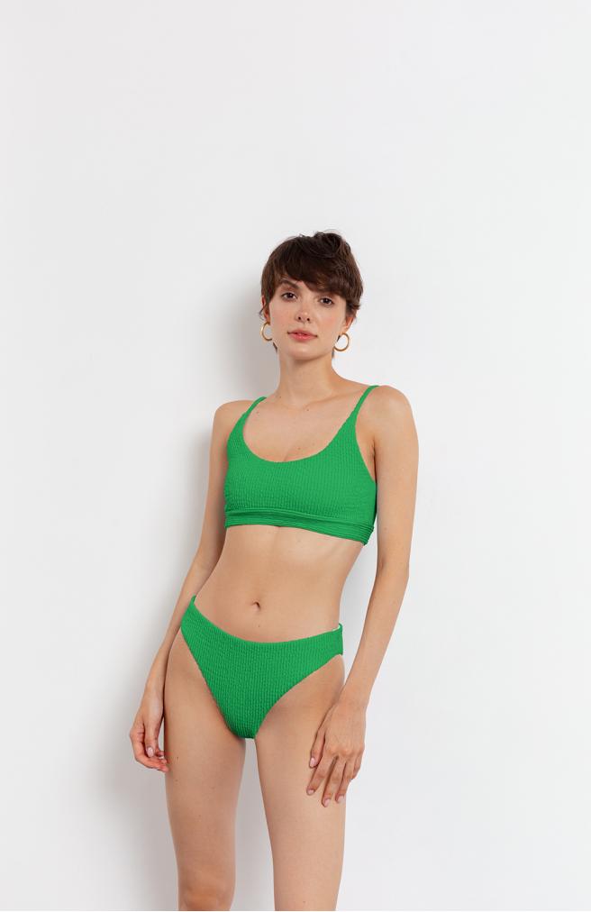 >Купальник роздільний жатка зеленого кольору