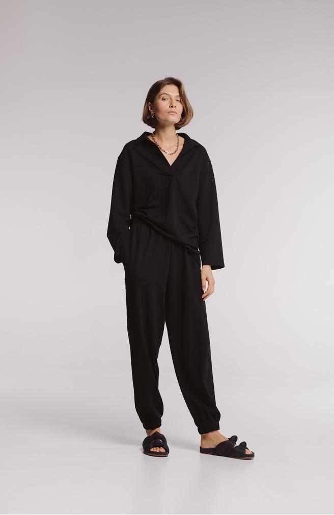 >Штани широкі чорні з фактурного трикотажу