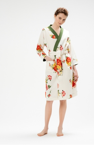 >Халат з льону в жовто-червоні квіти