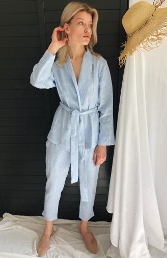 >Набір блакитний з льону з штанами