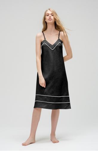 >Сорочка з чорного льону