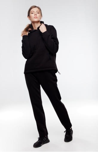 >Набір з худі двошаровий чорний зі штанами