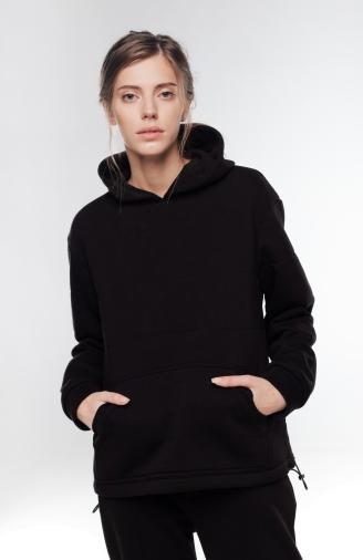 Набір з худі двошаровий чорний зі штанами