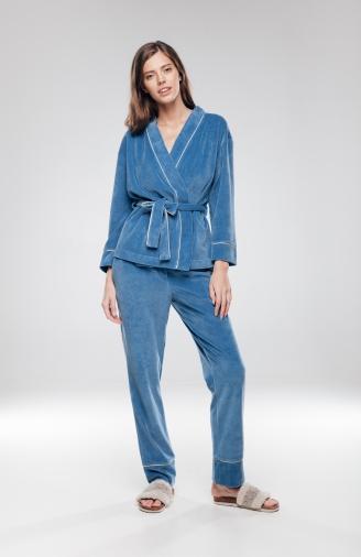 >Набір синій велюровий з накидкою і штанами