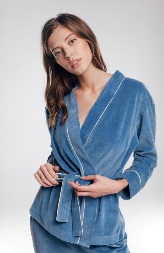 Набір синій велюровий з накидкою і штанами