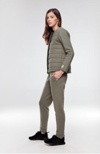 >Набір оливковий утеплена фуфайка на кнопках зі штанами