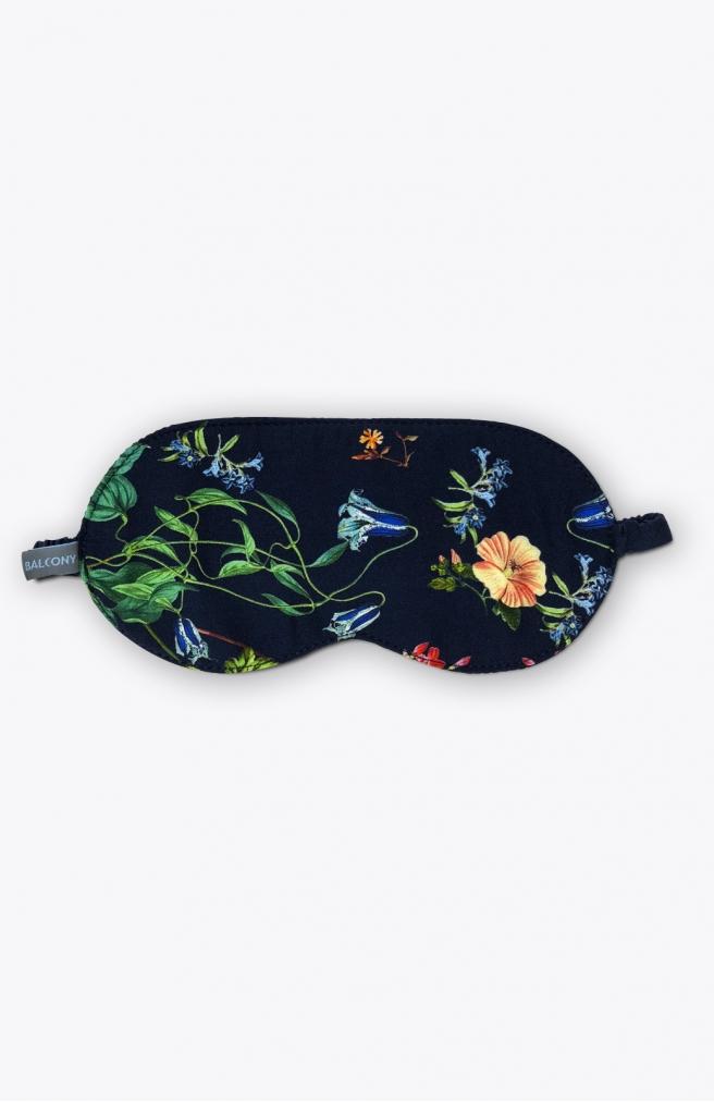 >Маска для сну синя в квіти