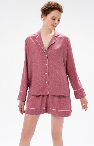 >Піжама класичного крою рожева в сині орнаменти
