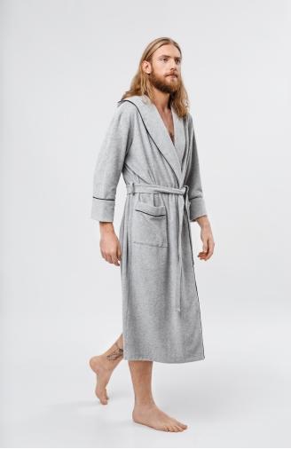 >Чоловічий халат довгий махровий сірий з капюшоном