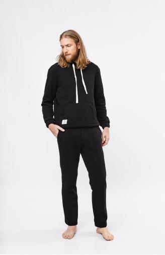 >Чоловічий набір з худі двошаровий чорний зі штанами