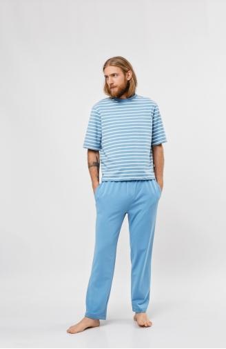 >Чоловічий піжамний набір блакитний в білу смужку