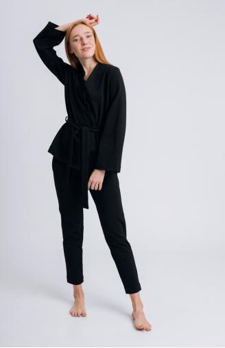 >Набір чорний з фігурною накидкою і штанами