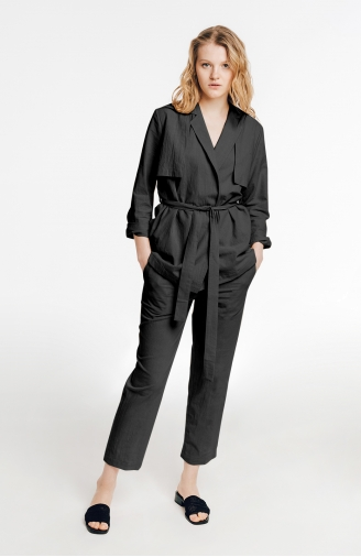 >Набір чорний тренч зі штанами з льону
