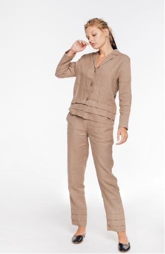 >Набір жакет і штани зі складками з льону