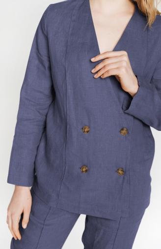 Набір з жакетом в синій тканині льон