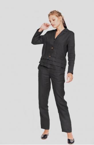 >Набір чорний  жакет і штани з льону