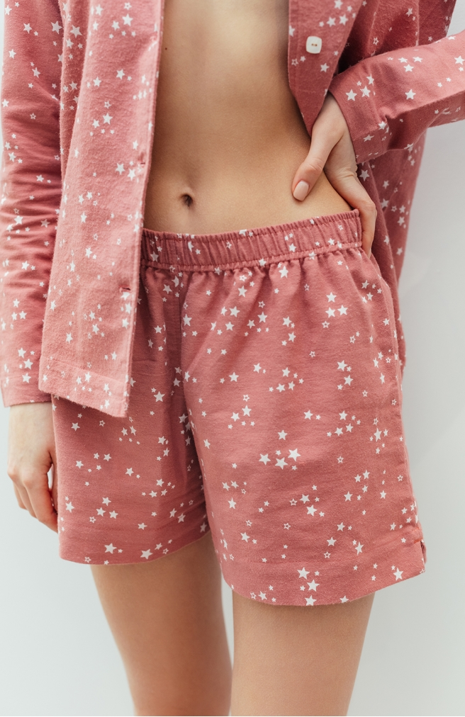 >Шорти фланелеві рожеві в зірки
