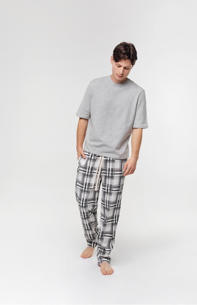 >Чоловічі штани в клітинку сірі