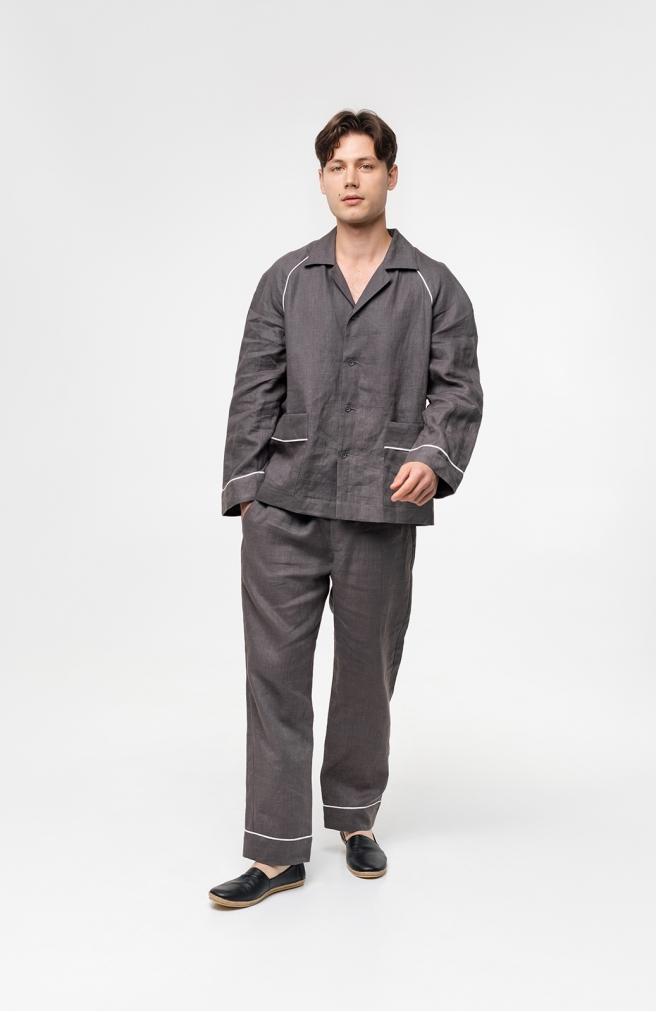 >Чоловіча сорочка сіра з льону з кантом