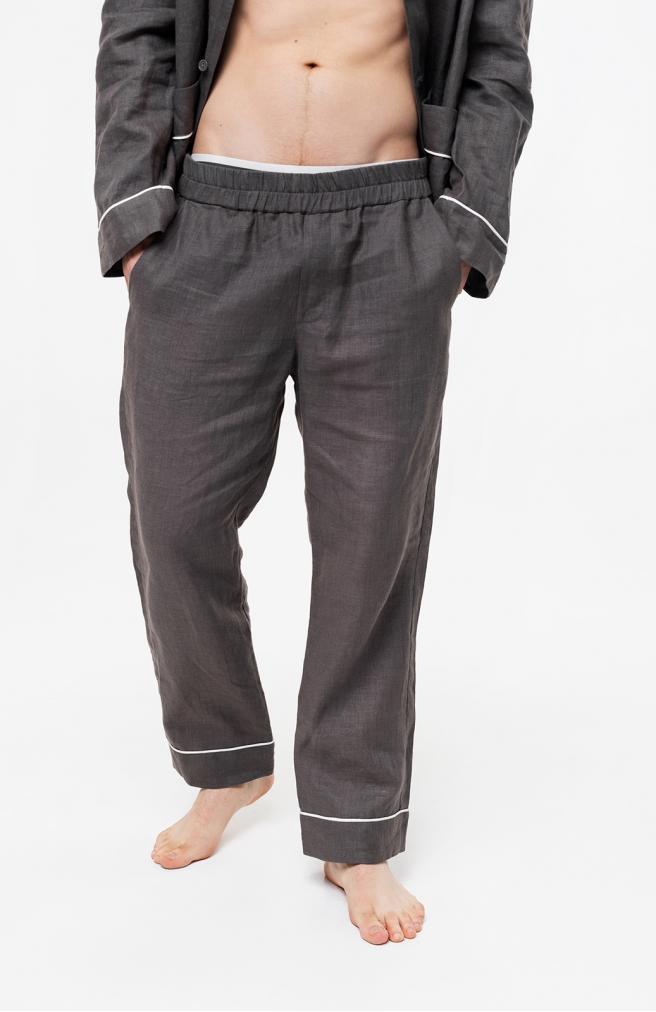 >Чоловічі штани сірі з льону з білим кантом