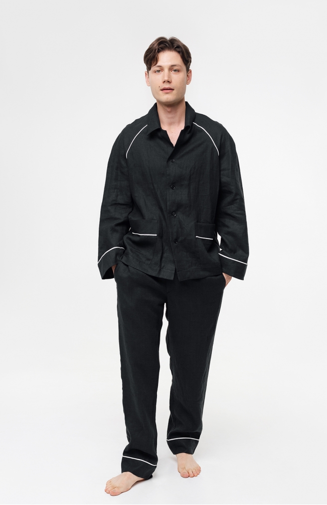 >Чоловічі штани з льону з білим кантом