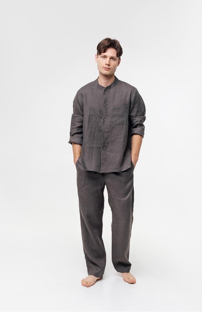 >Чоловічі штани сірі з льону