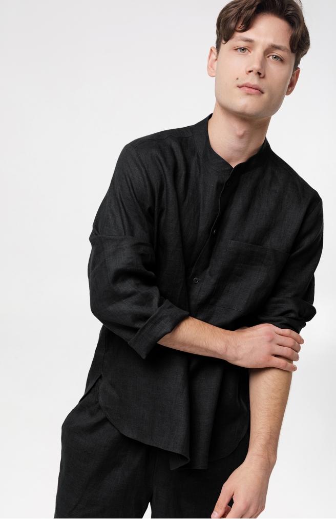 >Чоловіча сорочка чорна з комірцем