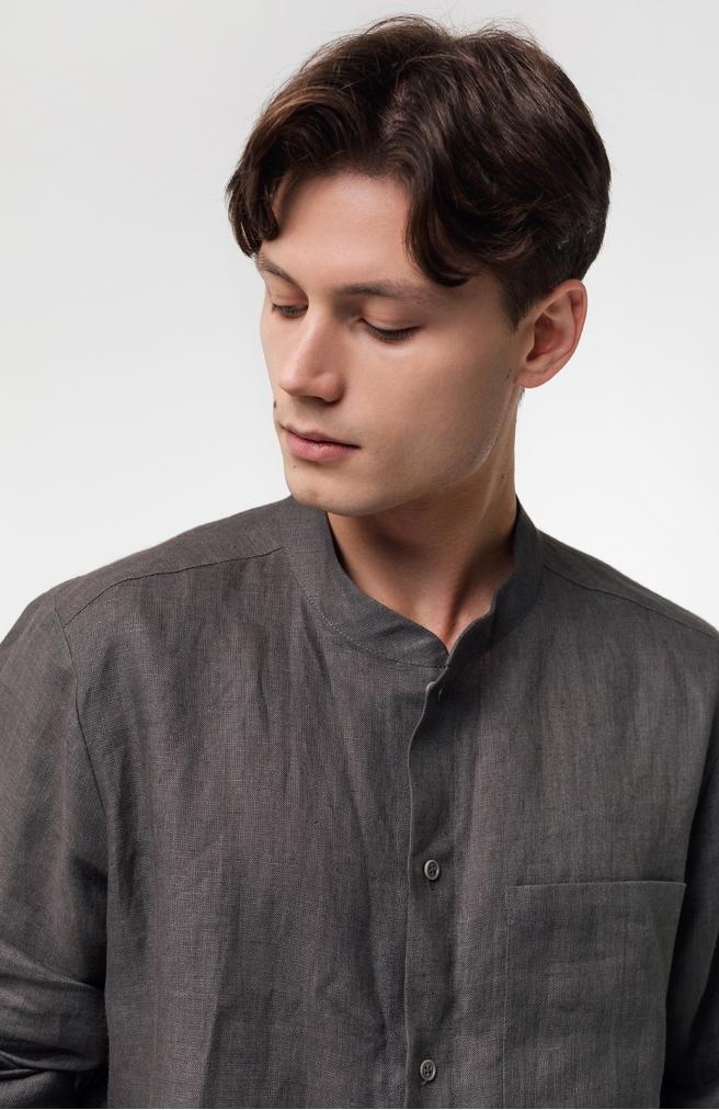 >Чоловіча сорочка сіра на ґудзиках