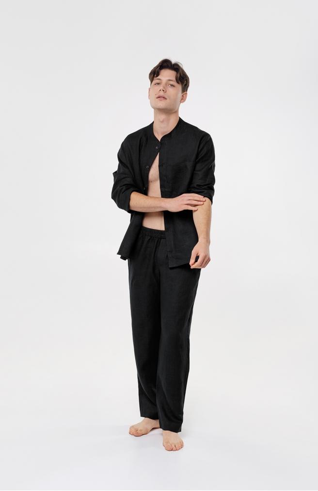 >Чоловічі штани чорні з льону