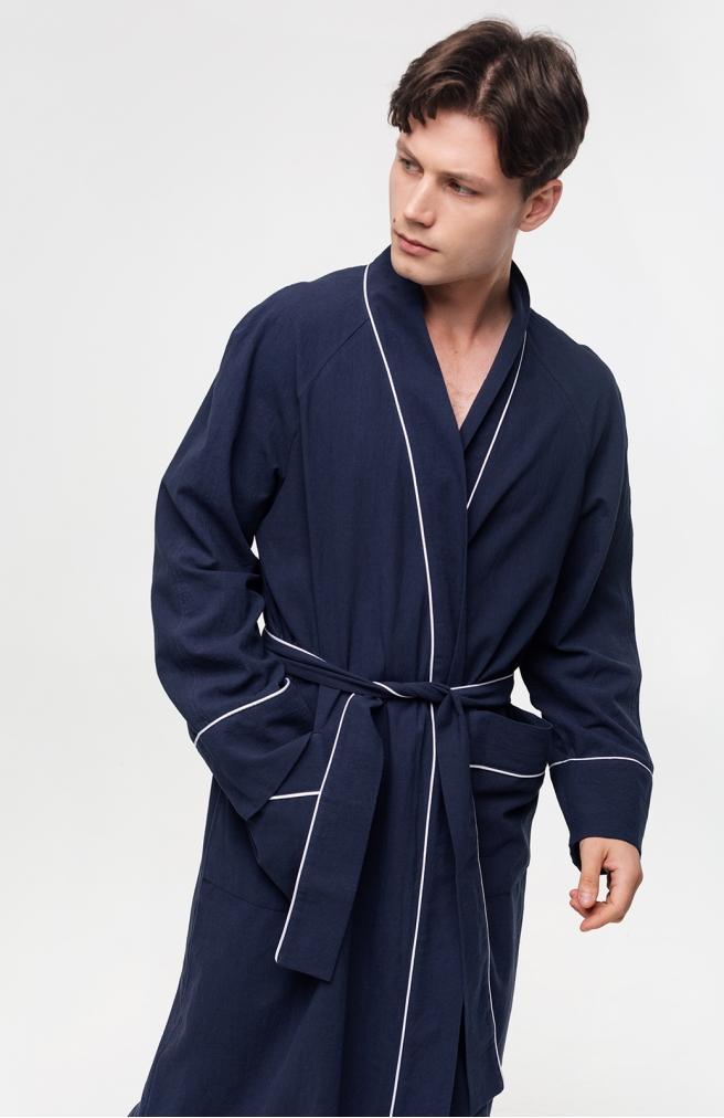 >Чоловічий халат синій з білим кантом