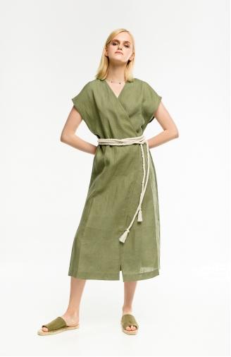 >Сукня-кімоно зелена на запах з поясом