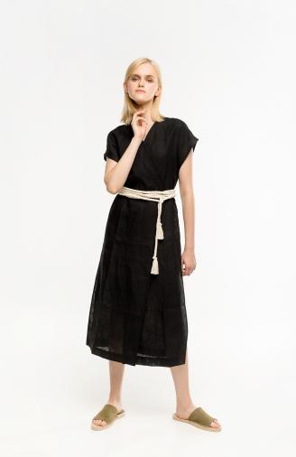 >Сукня-кімоно чорна на запах з поясом