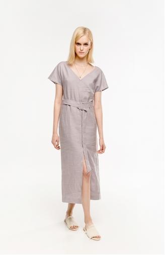 >Сукня лілова лляна з поясом